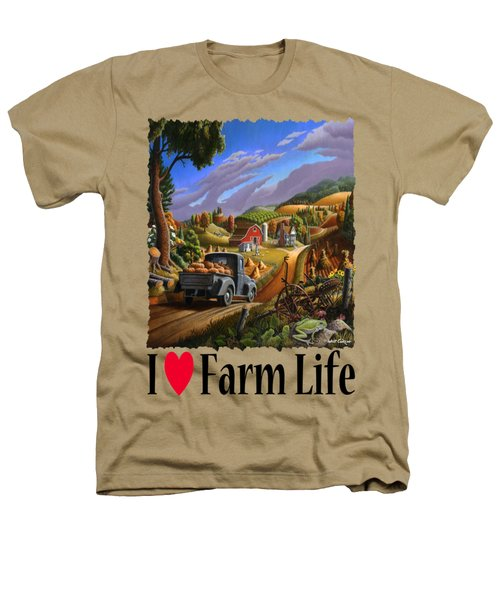 I Love Farm Life - Taking Pumpkins To Market - Appalachian Farm Landscape Heathers T-Shirt by Walt Curlee