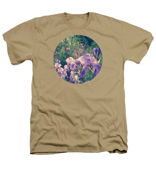 Irises And Roses In The Garden Heathers T-Shirt by Mary Wolf