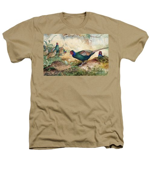 Japanese Pheasants Heathers T-Shirt by Joseph Wolf