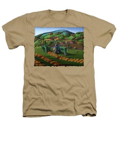 John Deere Tractor Baling Hay Farm Folk Art Landscape - Vintage - Americana Decor -  Painting Heathers T-Shirt by Walt Curlee