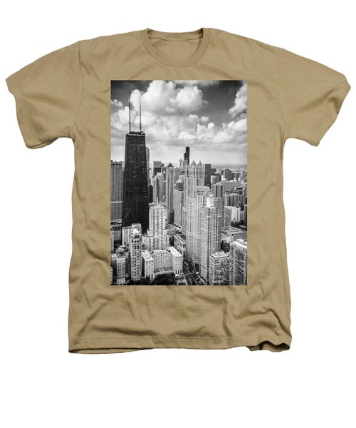 John Hancock Building In The Gold Coast Black And White Heathers T-Shirt by Adam Romanowicz