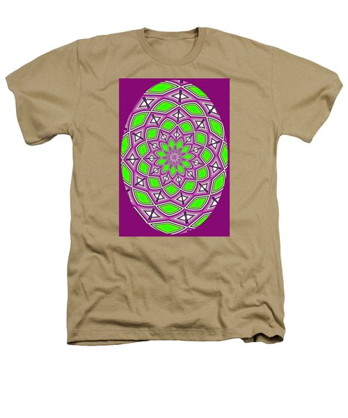 Kaleidoscopic Design Oval In Purple And Lime Green Heathers T-Shirt