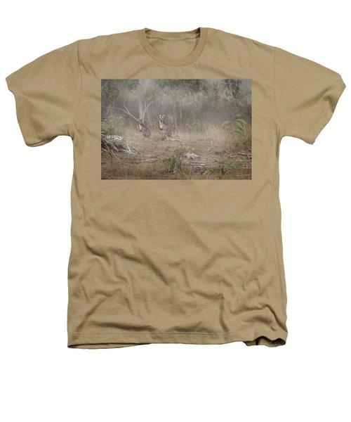 Kangaroos In The Mist Heathers T-Shirt by Az Jackson