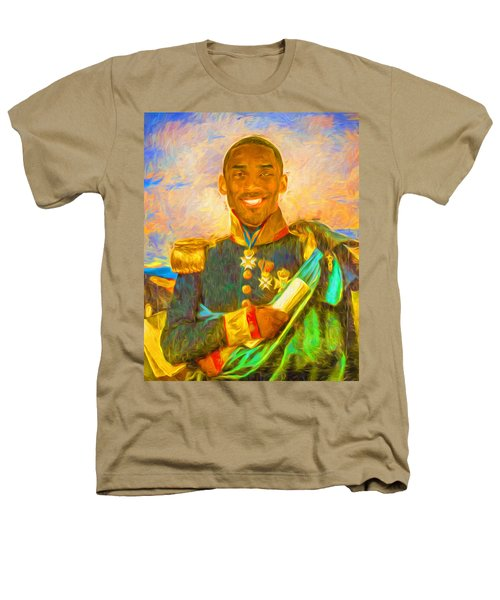 Kobe Bryant Floor General Digital Painting La Lakers Heathers T-Shirt by David Haskett