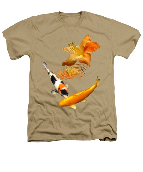 Koi With Azalea Ripples Vertical Heathers T-Shirt by Gill Billington