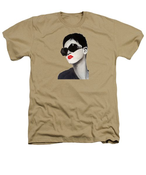 Lady With Sunglasses Heathers T-Shirt by Birgit Jentsch