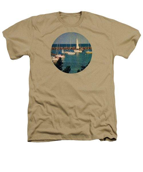 Lake Michigan Sailboats Heathers T-Shirt by Mary Wolf