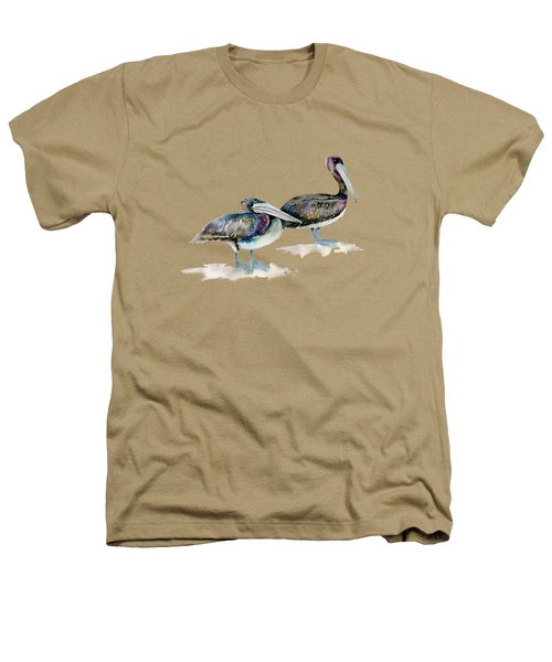 Laurel And Hardy, Brown Pelicans Heathers T-Shirt by Amy Kirkpatrick