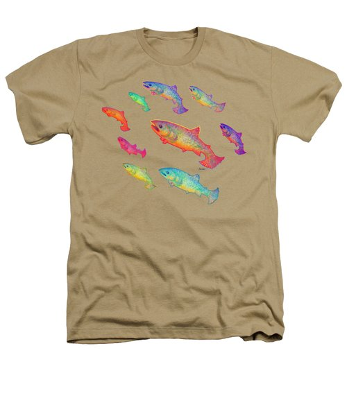 Leaping Salmon Design Heathers T-Shirt by Teresa Ascone