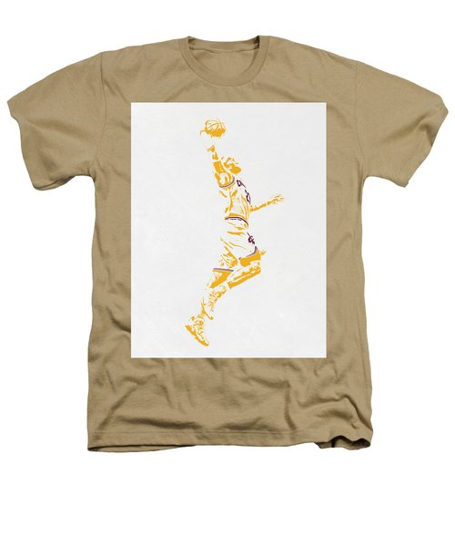 Lebron James Cleveland Cavaliers Pixel Art Heathers T-Shirt by Joe Hamilton