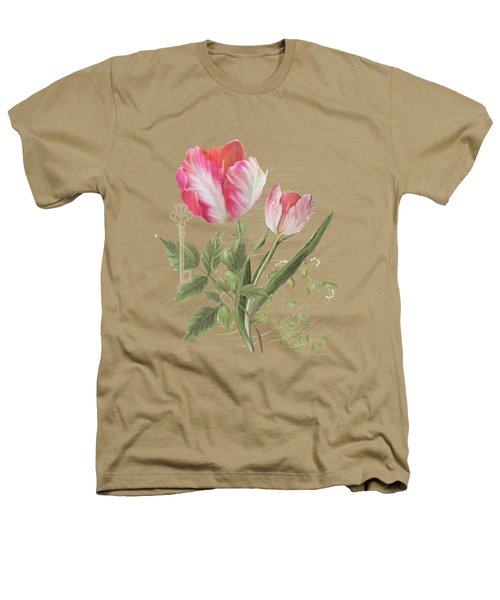Les Magnifiques Fleurs I - Magnificent Garden Flowers Parrot Tulips N Indigo Bunting Songbird Heathers T-Shirt by Audrey Jeanne Roberts