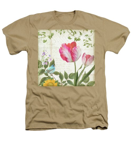 Les Magnifiques Fleurs IIi - Magnificent Garden Flowers Parrot Tulips N Indigo Bunting Songbird Heathers T-Shirt by Audrey Jeanne Roberts
