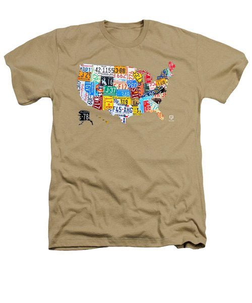 License Plate Art Map Of The United States On Yellow Board Heathers T-Shirt