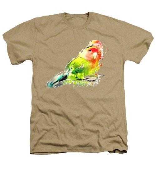 Lovebird Watercolor Painting Heathers T-Shirt by Justyna JBJart