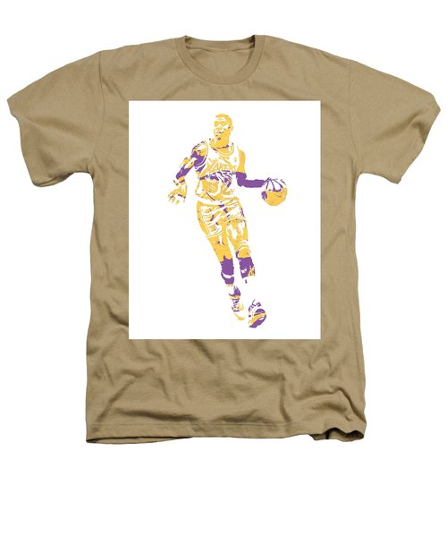 Magic Johnson Los Angeles Lakers Pixel Art 10 Heathers T-Shirt