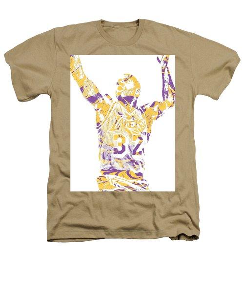 Magic Johnson Los Angeles Lakers Pixel Art 7 Heathers T-Shirt