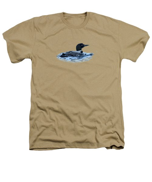 Male Mating Common Loon Heathers T-Shirt by Daniel Hebard
