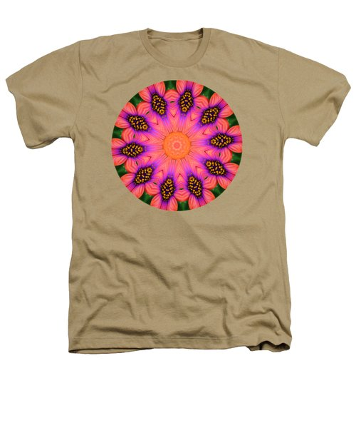 Mandala Salmon Burst - Prints With Salmon Color Background Heathers T-Shirt by Hao Aiken