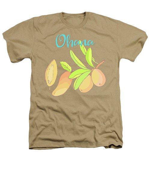 Mango Ohana Tropical Hawaiian Design Of Fruit And Family Heathers T-Shirt by Tina Lavoie