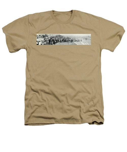 Miami Beach Sunbathers 1921 Heathers T-Shirt by Jon Neidert