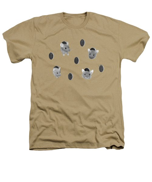Mice In Swiss Cheese Heathers T-Shirt by Rita Palmer