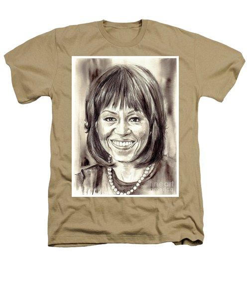 Michelle Obama Watercolor Portrait Heathers T-Shirt