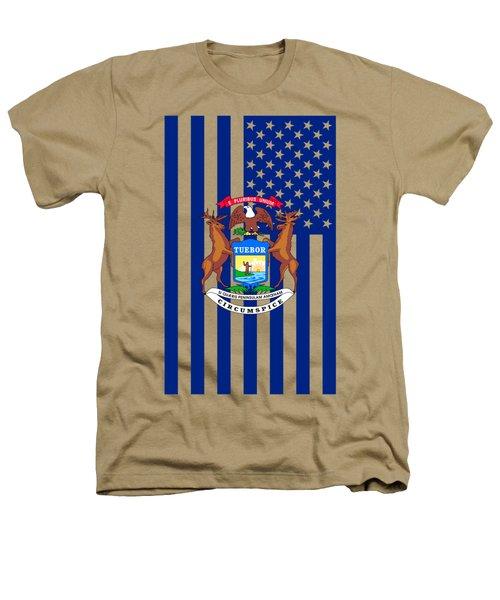 Michigan State Flag Graphic Usa Styling Heathers T-Shirt