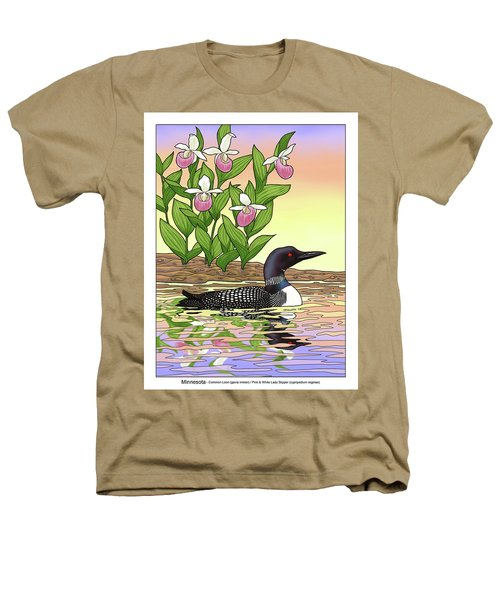 Minnesota State Bird Loon And Flower Ladyslipper Heathers T-Shirt by Crista Forest