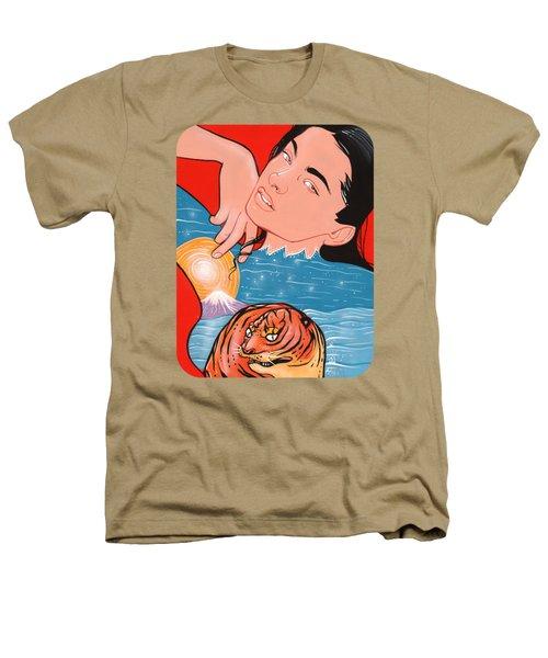 Mount Fuji Tiger Companion Golden Moon  Heathers T-Shirt