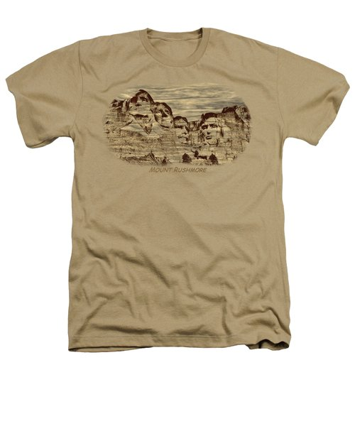 Mount Rushmore Woodburning 2 Heathers T-Shirt by John M Bailey
