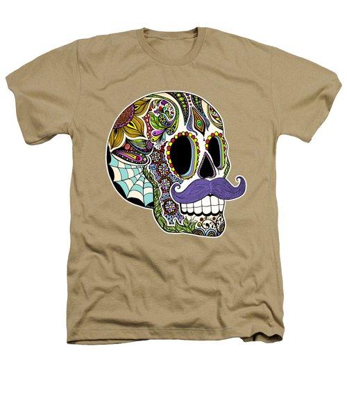 Mustache Sugar Skull Vintage Style Heathers T-Shirt by Tammy Wetzel