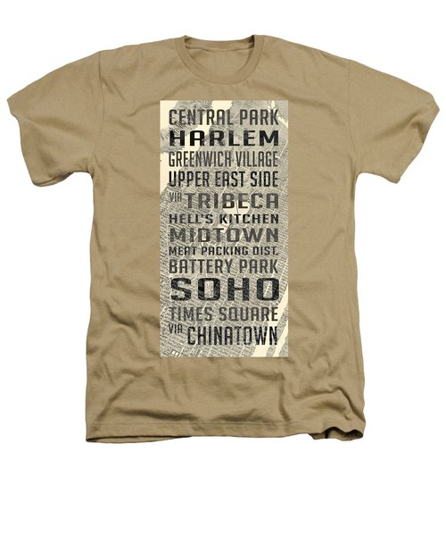 New York City Subway Stops Vintage Map 5 Heathers T-Shirt by Edward Fielding