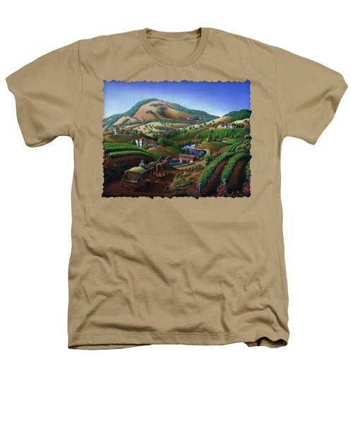 Old Wine Country Landscape - Delivering Grapes To Winery - Vintage Americana Heathers T-Shirt by Walt Curlee