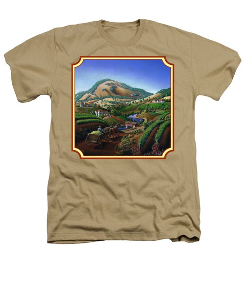 Old Wine Country Landscape Painting - Worker Delivering Grape To The Winery -square Format Image Heathers T-Shirt