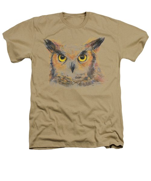 Owl Watercolor Portrait Great Horned Heathers T-Shirt by Olga Shvartsur