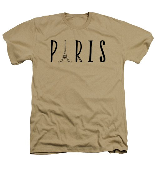 Paris Typography Panoramic Heathers T-Shirt by Melanie Viola