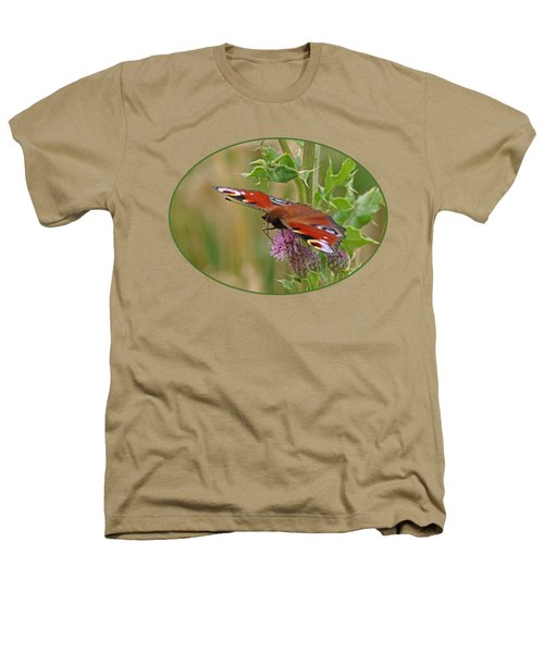 Peacock Butterfly On Thistle Heathers T-Shirt by Gill Billington