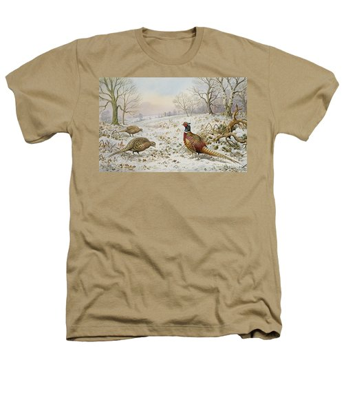 Pheasant And Partridges In A Snowy Landscape Heathers T-Shirt by Carl Donner