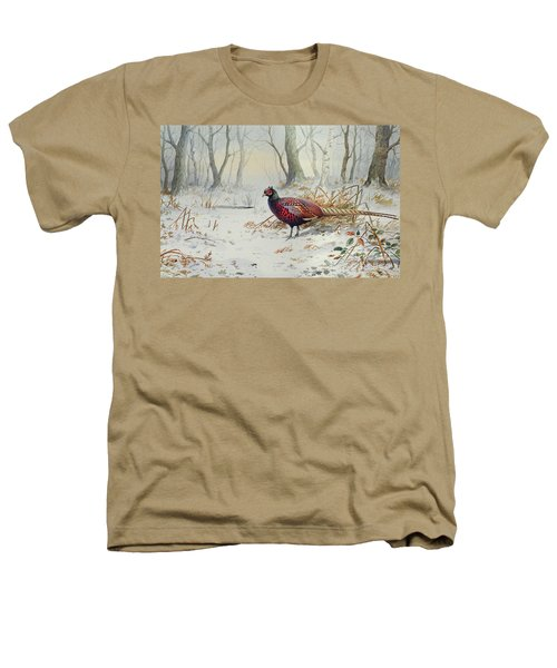 Pheasants In Snow Heathers T-Shirt by Carl Donner