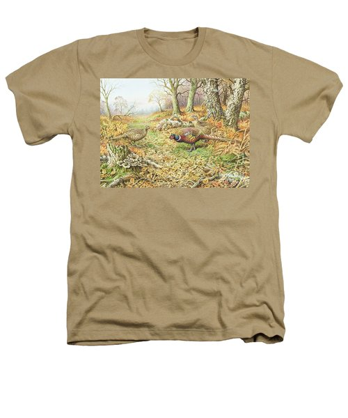 Pheasants With Blue Tits Heathers T-Shirt by Carl Donner