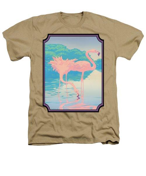 Pink Flamingos Abstract Retro Pop Art Nouveau Tropical Bird Art 80s 1980s Florida Decor Heathers T-Shirt by Walt Curlee