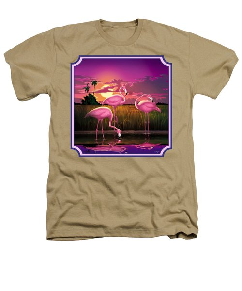 Pink Flamingos At Sunset Tropical Landscape - Square Format Heathers T-Shirt by Walt Curlee