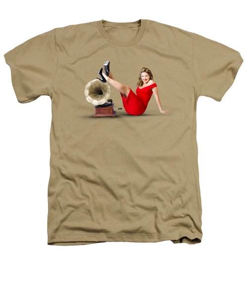 Pinup Girl In Red Dress Playing Classical Music Heathers T-Shirt by Jorgo Photography - Wall Art Gallery