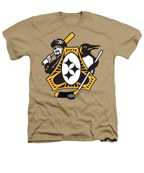 Pittsburgh-three Rivers Roar Sports Fan Crest Heathers T-Shirt