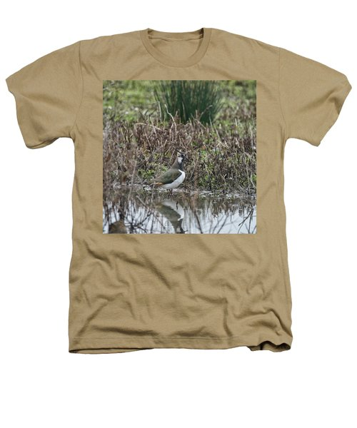 Portrait Of Beautiful Lapwing Bird Seen Through Reeds On Side Of Heathers T-Shirt by Matthew Gibson