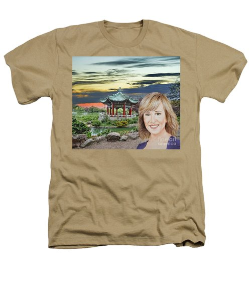 Portrait Of Jamie Colby By The Pagoda In Golden Gate Park Heathers T-Shirt by Jim Fitzpatrick