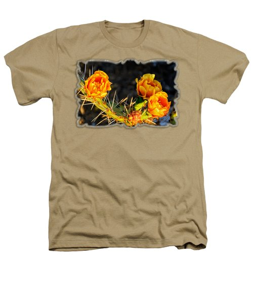 Prickly Pear Flowers Op49 Heathers T-Shirt by Mark Myhaver