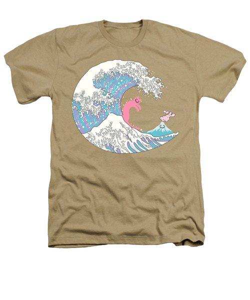 Psychodelic Bubblegum Kunagawa Surfer Cat Heathers T-Shirt by Julia Jasiczak