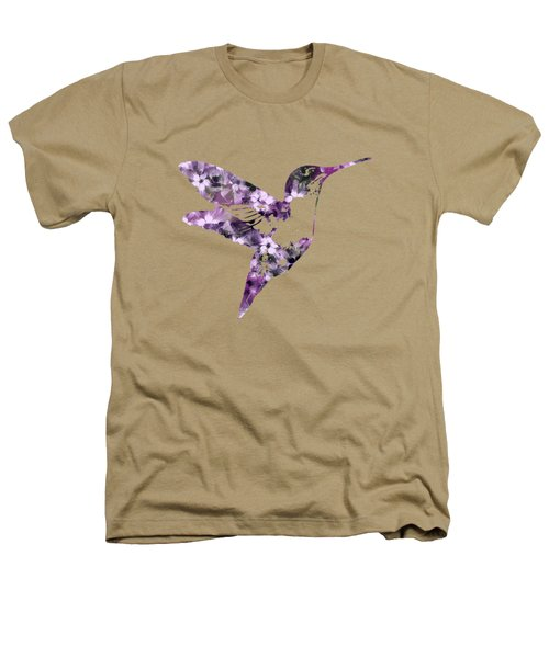Purple Floral Hummingbird Art Heathers T-Shirt