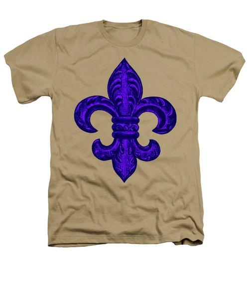 Purple French Fleur De Lys, Floral Swirls Heathers T-Shirt by Tina Lavoie